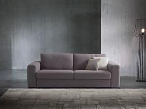 Argo, Sofa bed with modern lines, covered in fabric or leather