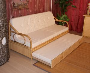 Sofa bed Giunco, Sofa bed with cane structure, ethnic style