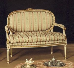 130 SOFA, 2-seater sofa, solid wood, with gold leaf decorations