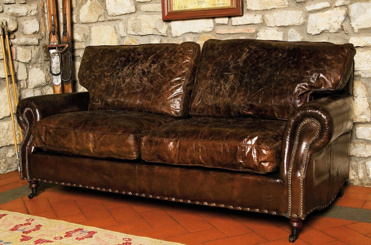 3-seat sofa in distressed leather, country style  IDFdesign