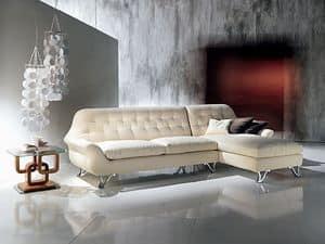 DI11 Cherubino, Corner Modular sofas with peninsula, padded with polyurethane