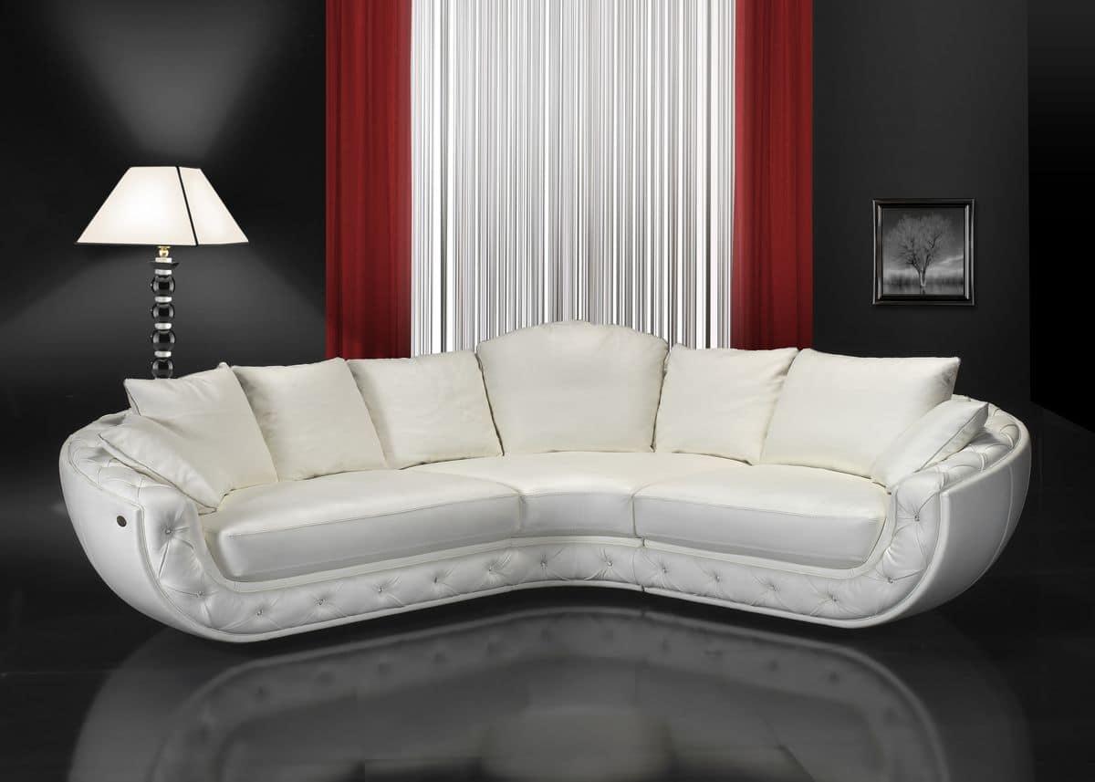 Fitzgerald Corner Sofa Covered In Leather Handmade