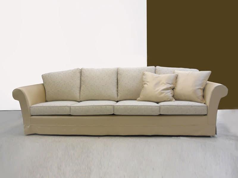 Modern sofa with wooden structure beech feet idfdesign