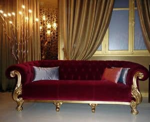 Queen classic fabric, Luxurious sofa, made in Italy
