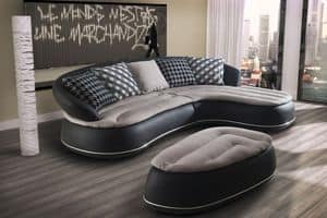 Wes, Leather sofa with chaise longue, rounded forms