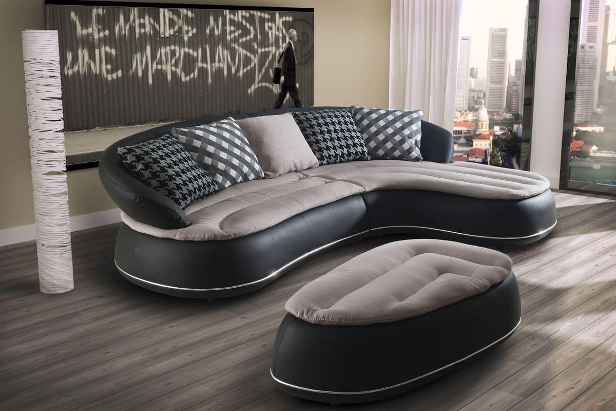 Leather Sofa With Chaise Longue Rounded Forms Idfdesign