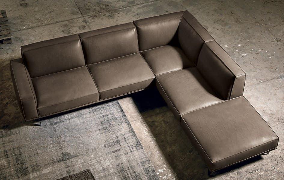 Corner And Modular Sofa In Leather IDFdesign