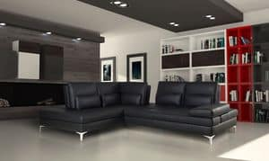 Camaleon, Sofa made of real leather with chaise longue, modular