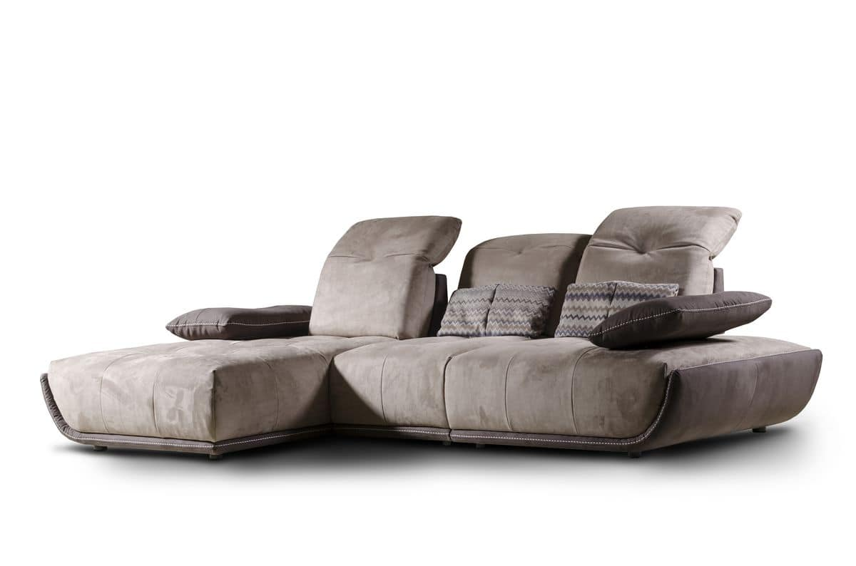 Sofa with chaise longue reclining backrest