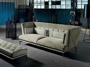 GISELLE 1, 3 seater sofa with quilted and squared backrest