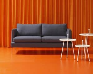 Jasmine, 2 seaters sofa, a wooden frame, removable cover in fabric or leather, to modern living rooms