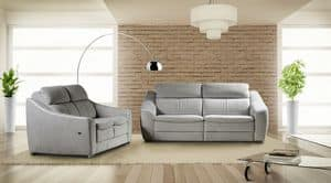 Morena, Leather sofa with reclining backrest and footrest