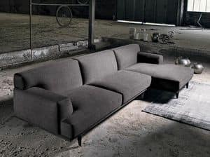 SALINA 3, Modular sofa covered in fabric, with chaise longue