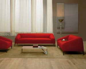Sebastian sofa, Design sofa with wooden legs, upholstered in fabric