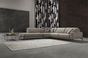 Tivoli corner, Corner sofa with steel base, removable, in leather