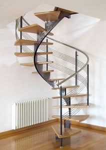 BC.06, Spiral staircase with brushed steel structure