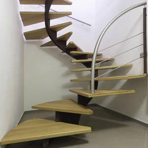 BC.08, Spiral staircase in steel with oak treads