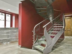 BE.10, Spiral staircase with treads made of steel and transparent glass