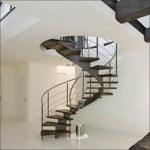 BC.03, Stair with helicoidal structure made of steel, treads made of weng� wood