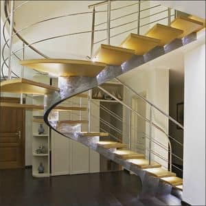BE.04, Steel spiral staircase with lighted treads