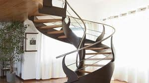 BE.05, Spiral staircase, in painted steel, with oak stairs