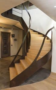 BE.06, Staircase with steel railing and stairs made of oak