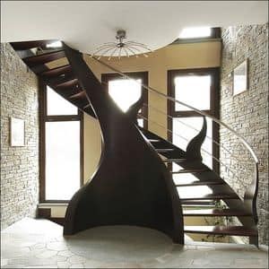 BE.08, Staircase in doussie with steel handrail