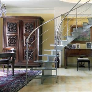 BG.08, Open staircase with treads made of steel and shatterproof glass