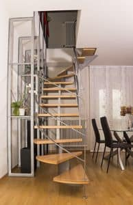 BG.09, Staircase in brushed iron with glass bookcase