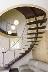 BG.15, Open staircase with treads made of brushed steel