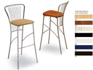 500, Simple barstool in chromed steel, for ice cream parlors