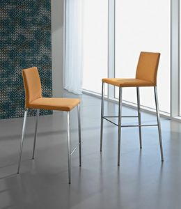 Asia S, Steel stool, upholstered seat and back