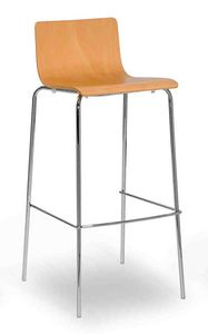 Lilly stool, Metal stool with wooden shell