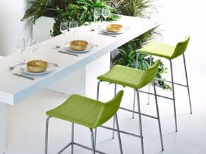 Cover H75, Stackable modern barstool, sitting with horizontal seams