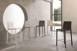 MARSIGLIA SG607, Modern stool with leather covreing suited for modern kitchens