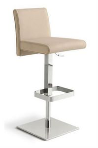 Rialto SG, Adjustable height stool with upholstered seat and back, leather covering