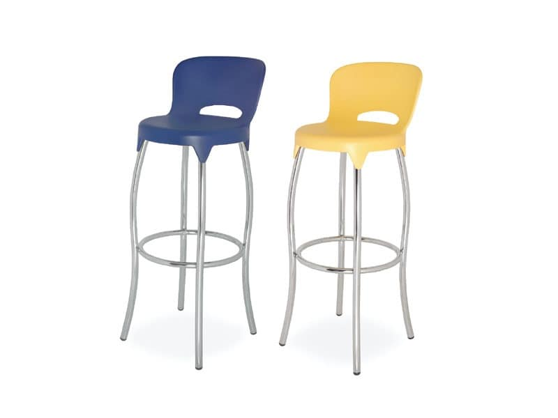 SG 031, Stool in metal with plastic shell, for kitchens