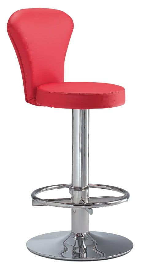 SG 032, Stools with backrest, round base in metal, for kitchens