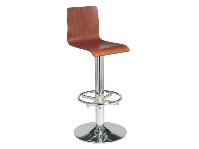 SG 035, Stool with metal frame and plywood shell, for bars