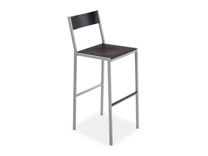 Do stool, Modern barstool, in square steel, for contract use