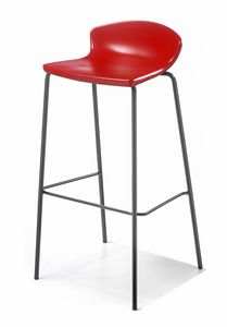 Easy cod. 58, Minimal barstool in metal and polymer