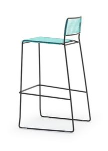 Log spaghetti ST, Stacking stools, backrest and seat are made of PVC colored rope, suitable for outdoor use