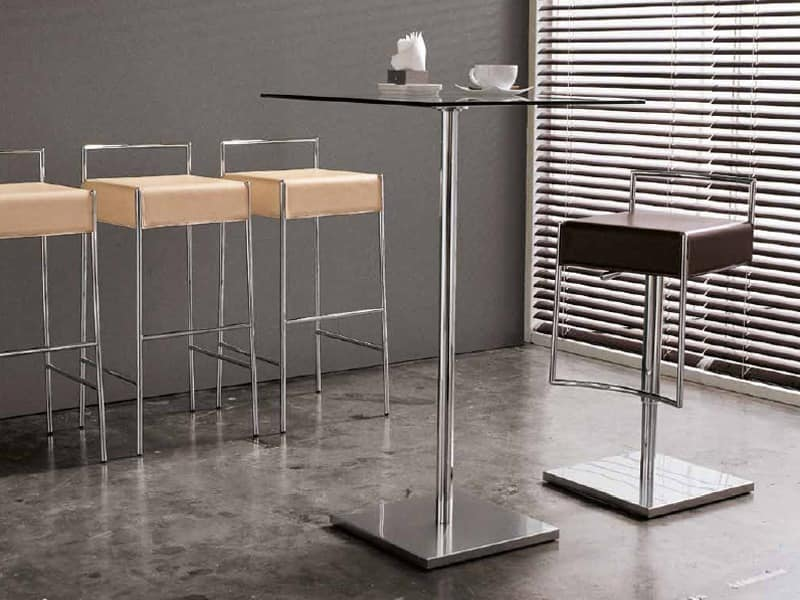 Fixed Stool With Metal Footrest And Leather Seat Idfdesign