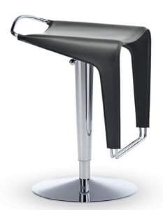 Zow SG CU, Stool made of metal and natural hide, adjustable and swivel