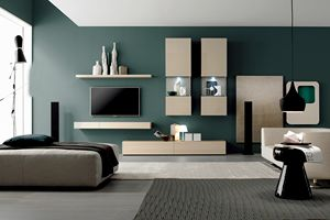 GRAPHOS GLASS 134, Wall system for living room, modern style