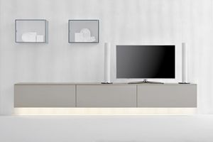 GRAPHOS GLASS 142, Wall system for living rooms with integrated lighting