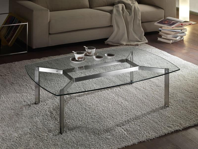 Rectangular glass coffee table for living rooms rounded corners