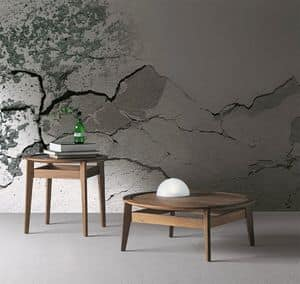 Saturno, Small round coffee table in Canaletto walnut