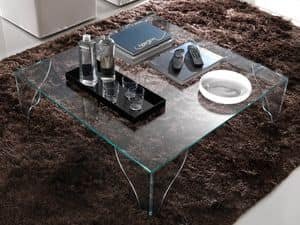 T16 sipario, Square coffee table made entirely of glass