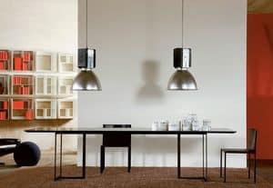 Leonardo, Table with minimal design, metal and glass, for living room